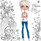 Vector fashion hipster girl and star Royalty Free Stock Photo