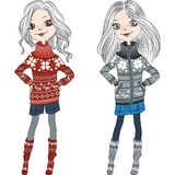Vector fashion hipster girls in knitted sweaters Royalty Free Stock Photo