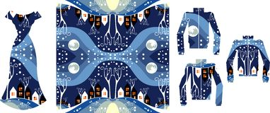 Vector fashion illustration. Female dress and jackets with winter pattern. Stock Images