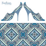 Vector fashion illustration, ladies shoes and seamless pattern Royalty Free Stock Photo