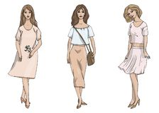 Vector fashion illustration set of three stylish girls in business style in rose beige and pink colours isolated on white stock illustration