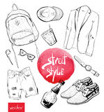 Vector fashion illustration. set of trendy look Royalty Free Stock Photos