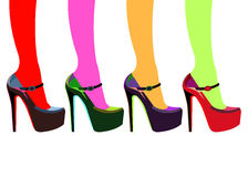 Vector fashion illustration silhouette sketch footwear Stock Photography