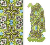 Vector fashion illustration, stylized Indian sari, dress model. Vector fashion illustration, stylized Indian sari women`s ethnic dress model, decorative seamless Royalty Free Stock Image