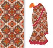 Vector fashion illustration, stylized Indian sari, dress model. Vector fashion illustration, stylized Indian sari women`s ethnic dress model, decorative seamless Royalty Free Stock Photos