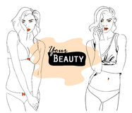 Vector fashion illustration of woman beauty Stock Images