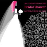 Vector fashion illustration of a young bride holding flowers. Bridal Shower. Royalty Free Stock Photo