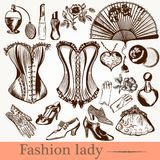 Vector fashion lady set accessories clothiers Royalty Free Stock Image