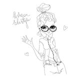 Vector Fashion Lifestyle Illustration with a Fashion Model Royalty Free Stock Photography