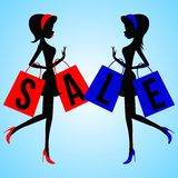 Vector fashion and modern women with shopping bags with the word Sale . stock illustration