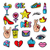 Vector fashion patch badges set Royalty Free Stock Photos