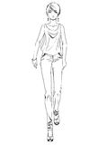 Vector fashion sketch of girl on white background Royalty Free Stock Photo