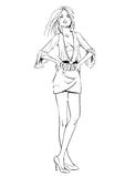 Vector fashion sketch of girl on white background Stock Image
