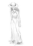 Vector fashion sketch of girl on white background Stock Photo