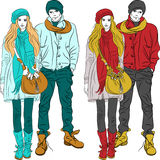 Vector fashion stylish guy and girl  in warm cloth Stock Photography