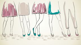 Vector fashion womans. Vector girls in fashionable shoes. Hand drawn illustration Royalty Free Stock Photos