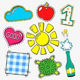 Vector fasion patch set  on white background. Cartoon pin with sun, apple, one, turtle, heart, good. Stock Photo