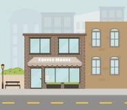 Vector Fassade des Hauses mit Kaffeestube/Café in der flachen Art Lizenzfreie Stockbilder