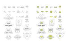 Vector Fast Food Icons Logos stock image