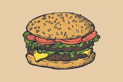 Vector fast food illustration. Retro hand drawn burger sign. Fast food icon. Fast food emblem. Burger bar sign. Burger bistro logo. Good for leaflets, cards Royalty Free Stock Image