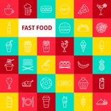 Vector Fast Food Line Icons royalty free illustration