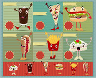 Vector fast food menu funny cartoon character Stock Photo