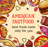 Vector fast food poster of meals and desserts Stock Photo