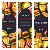 Vector fast food restaurant banners set Royalty Free Stock Image