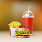 Vector Fast Food. Set of Realistic Hamburger Classic Burger Potatoes French Fries in Red Package Box Blank Cardboard Cup for Soft Drinks with Straw  on Colorful Royalty Free Stock Image