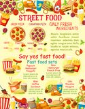 Vector fast food street food snacks poster. Fast food meals or street food snacks poster for fastfood restaurant menu template. Vector combo sandwiches, fries or vector illustration