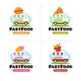 Vector fast food truck logo collection. Pizza, burger, ice cream and wok street cafe. Vector cartoon fast food truck logo collection. Pizza, burger, ice cream Royalty Free Stock Image