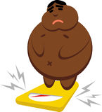 Vector of a fat African American on the scales. Vector fat African American that is sad on the scales Stock Images