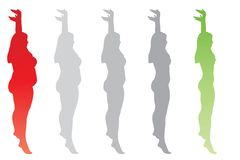 Vector fat overweight obese female vs slim fit healthy body. Vector conceptual fat overweight obese female vs slim fit healthy body after weight loss or diet stock illustration