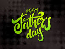 Vector father`s day greetings card with hand lettering - happy father`s day - on halftone background Stock Image