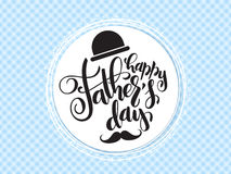 Vector father`s day greetings card with hand lettering - happy father`s day - with a hat and mustaches in a circle Stock Photos
