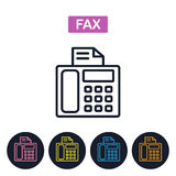 Vector fax machiner icon.  Simple thin line image for websites, Royalty Free Stock Images