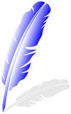Vector feather. Blue feather on white background with shadow, vector illustration vector illustration