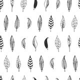 Vector feather background, retro pattern. Doodle collection, tribal design. Ink hand drawn illustration with different indian feathers on white background Stock Photos