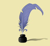 Vector feather and ink bottle icon Royalty Free Stock Photography