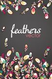 Vector feathers background card Stock Photo