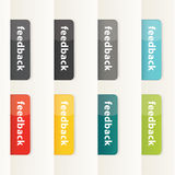 Vector feedback buttons for your website. Modern design button i. N eight different colors. Plastic feedback buttons Stock Images