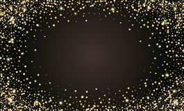 Vector feestelijke zwarte achtergrond, gouden schitterend confettienkader voor uitnodigingen, verjaardag, vieringsverjaardag royalty-vrije illustratie