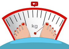 Vector feet on the scale. Concept of weight loss Stock Image