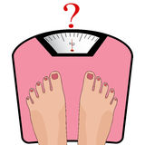 Vector feet on the scale. Concept of weight loss, healthy lifest Royalty Free Stock Image