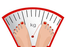 Vector feet on the scale. Concept of weight loss, healthy lifest Stock Photo