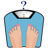 Vector feet on the scale. Concept of weight loss, healthy lifest Royalty Free Stock Photo