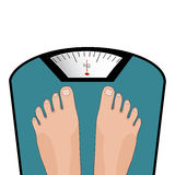 Vector feet on scale. Concept of weight loss, healthy lifestyle Royalty Free Stock Images