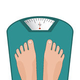 Vector feet on the scale. Concept of weight loss Royalty Free Stock Image