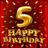 Vector Feiergoldballone alles Gute zum Geburtstag 5. und goldenes Konfettifunkeln Design der Illustration 3d für Ihre Grußkarte,  Stockfoto