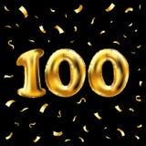 Vector 100. Feiergoldballone und goldenes Konfettifunkeln Design der Illustration 3d für Ihre Grußkarte, Einladung und Stockfotografie